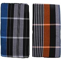 HTC Saree Men's Cotton Lungi (Multicolour, Free Size) - Set of 2