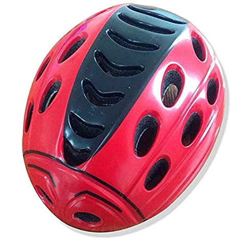 HuanLeBao Bicycle Helmet Child Safety Cute Ladybug Helmet Removable Bicycle Helmet Mount Helmet Guard , red