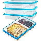 SELEWARE Plastico recipientes Comida hermeticos microondas contenedor Alimentos con 2-Compartimentos tapers apilables con Tapa sin bpa Fiambreras bento (Set de 3, 2.04L, Rectángulo, Azul)