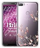 Sunrive Für HTC Desire 12+ Hülle Silikon, Transparent Handyhülle Luftkissen Schutzhülle Etui Case für HTC Desire 12+(TPU Blume)+Gratis Universal Eingabestift
