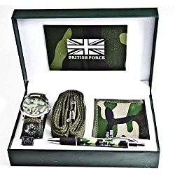 MENS WRIST WATCH WALLET BELT PEN GIFT SET LEATHER IN BOX CASE BOYS NEW JEWELLERY