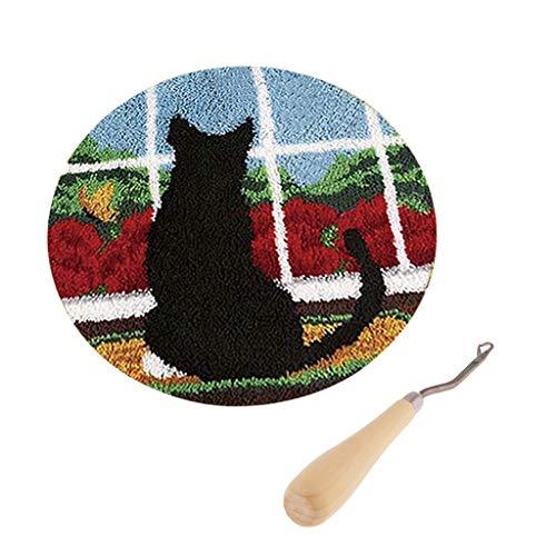 perfk Katze Knüpfset Haken Kit, Knüpfteppich DIY Handwerk Knüpfpackung zum Selber Knüpfen Teppich für Kinder, Erwachsene