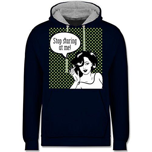 Comic Shirts - Stop staring at me! - Kontrast Hoodie Dunkelblau/Grau meliert
