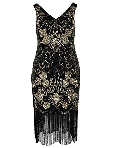 Gold Ballkleid Kostüm - PrettyGuide Damen Charleston Kleid Vintage Pailletten 1920er Gatsby Cocktailkleid L Gold