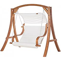 Columpio de jardín - Estructura en madera - Beige - APRILIA