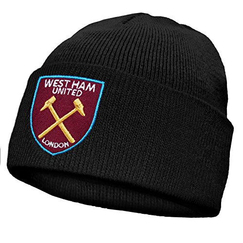 West Ham United FC officiel - Bonnet en tricot - thème football - Noir/Bronx