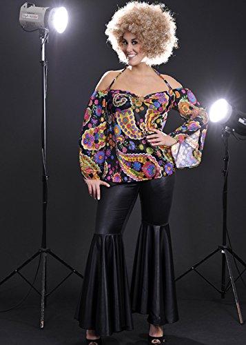 Damen Plus Größe 70er Jahre schwarzes Hippie Kostüm 3X/4X (UK - Kostüm Größe 70er-jahre-plus