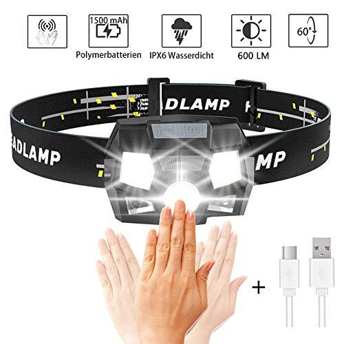iToncs Stirnlampe LED Wasserdicht, Hell 600 Lumen 4 LED 5 Modi, Gestensensor Kopflampe Stirnlampe USB Wiederaufladbar mit Warn Rotlicht, Stirnlampe Joggen für kinder, Erwachsene (1 Stück)