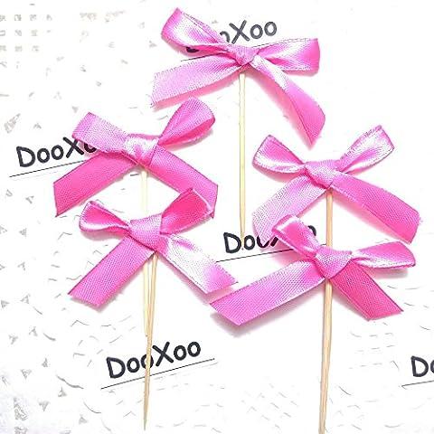 DooXoo Lot de 24 Cupcakes Toppers pailletés à Couronne pour Première Fête d'anniversaire Décorations de pâtisserie, Bambou, Rose Red HDJ CT, Taille M