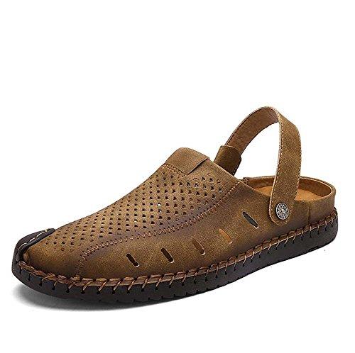 Männer Sandalen Cool Pantoffeln Hollow Net Garn Geschlossene Zehe reine Farbe Jugend Sommer Breathable Anti-Rutsch Strand Schuhe Casual Schuhe Eu Größe 38-44 ( Color : Khaki , Size : 42 ) (Kinder-bowling-schuhe Größe 2)