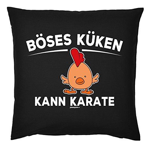 Motiv Osterhasen / Ostereier Dekokissen fürs Osternest : Böses Küken Kann Karate -- Kuschel-Kissen Ostern - Kissen mit Füllung - Farbe: schwarz (Böse Osterhase)