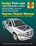 Dodge Pick-Ups 1500, 2500 & 3500 Models, 1994 Thru 2008 Haynes Repair Manual: 2wd & 4WD - V6, V8 and V10 Gasoline Engines - Cummins Turbo-Diesel Engin (Hayne's Automotive Repair Manual)