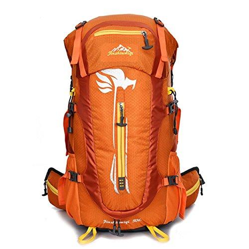 Wasserdichte Reise Rucksack 50L Outdoor Multifunktion großen Oxford Rucksack für Wanderungen Klettern Bergsteigen Pack Tasche abnehmbare tragenden Daypack H32 x L63 x T20 cm Orange