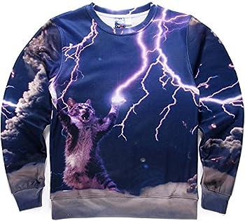 Pizoff Unisex Hip Hop Sweatshirts With 3d Digital Printing Cats Lightning Y1628-17-m 0
