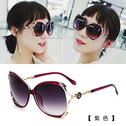 neue farbe star modelle brillen, sonnenbrillen, frauen flut sonnenbrille, lady, rundes gesicht, koreanische retro - runde augen,lila (stoff)
