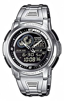 CASIO Collection AQF-102WD-1BVEF - Reloj de mujer de cuarzo, correa de acero inoxidable color varios colores (con cronómetro, alarma, luz)