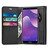 Ferilinso Huawei Y6 2018 Hülle, Elegantes Echtes Leder mit ID Kreditkarten-Slots Halter Flip Cover Stand Magnetic Closure Case für Huawei Y6 2018 (Schwarz)