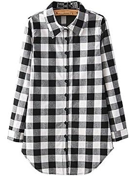 Mujer Camisas A Cuadros Blusa De Manga Larga Casual Camisetas