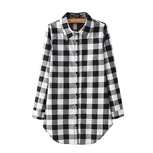 4a00e70fbe ShiFan Mujer Camisas A Cuadros Blusa De Manga Larga Casual Camisetas Negro.
