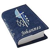 Gotteslob Gotteslobhülle Kreuz 2 blau Filz mit Namen bestickt hellgrau grau dunkelgrau lila blaugrau flieder maigrün dunkelblau trükis (dunkelblau meliert)