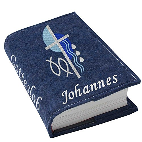 Gotteslob Gotteslobhülle Hülle Kreuz 2 blau Filz mit Namen bestickt Einband Umschlag personalisierte Gesangbuchhülle, Farbe:dunkelblau meliert