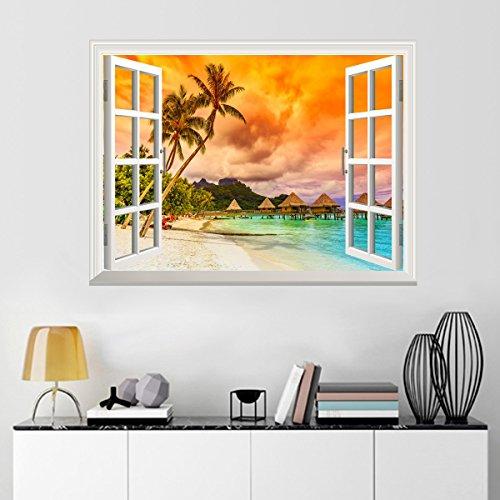 UniqueBella 3D Fotomural Vinilo Decorativo de Ventana Autoadhesivo Pegatina de Pared Extraíble Decoración del Hogar Ocaso Playa Vacaciones 61CM * 81CM