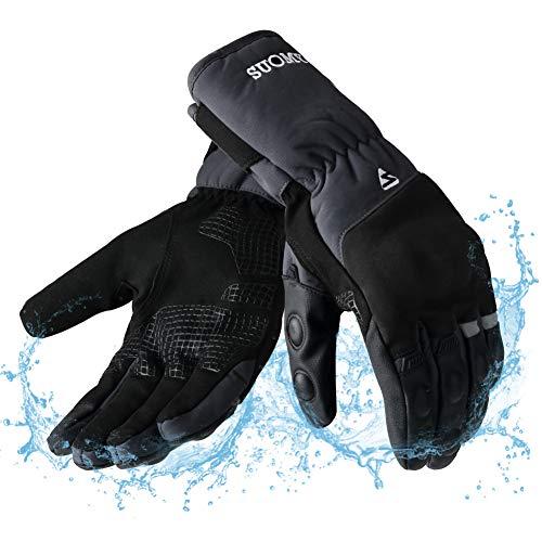 Guanti moto invernali impermeabili touchscreen, antivento caldo guanti para motociclista, scooter, ciclomotori, motocross, bici, escursionismo invernali, sport all'aria aperta - m grigio