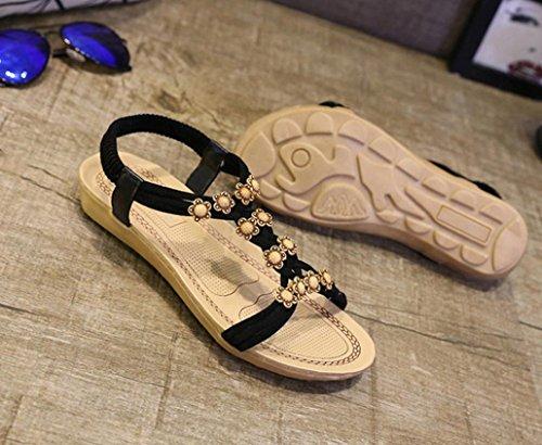 OVERMAL Femmes Slipper perlé Fleurs Bohemian Sandals Chaussures de plage Chaussures plates Noir