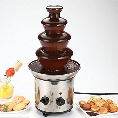 Bluelover 4 Tiers Mini Stainless Steel Chocolate Fondue Fountain Waterfall Melting Machine Kitchen Appliance