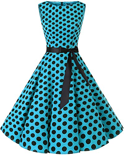 bbonlinedress 50s Retro Schwingen Vintage Rockabilly Kleid Faltenrock Blue Black Big Dot L