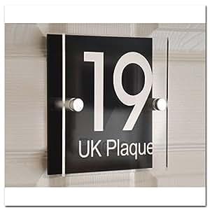 Placchetta quadrata con doppia parete, effetto testo bianco | Design moderno, personalizzabile, trasparente, placca & piastra decorativa posteriore in acrilico nero, numero civico, cartelli, nome casa, placca da porta (6 font disponibili)
