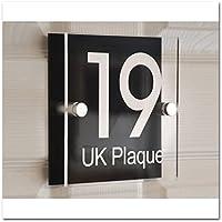 Quadrato a doppia parete, effetto testo bianco   Design moderno personalizzabile con placca & Piastra Decorativa posteriore in acrilico nero, numero civico Casa del nome, segni, Placca da porta (6stili a scelta)