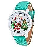 Kingwo Damen Uhren, Damen Armbanduhr Weihnachten Älteres Muster Lederband Analog Quartz Vogue Uhren (Grün)