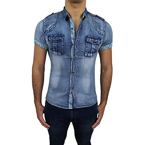 Camicia di Jeans uomo blu denim casual maniche corte Slim Fit super aderente