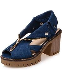 RAZAMAZA Mujer Hueco Tacon Ancho Alto Alto Peep Toe Slingback Sandalias  Zapatos con Cremallera 0ae2380b105a