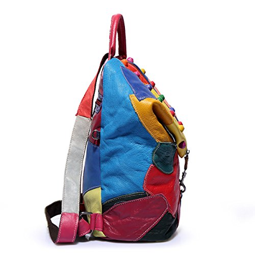 Lederhandtaschen Nähen Rucksack Punk Umhängetasche Bunte Taschen Studenten Taschen Handtaschen Color