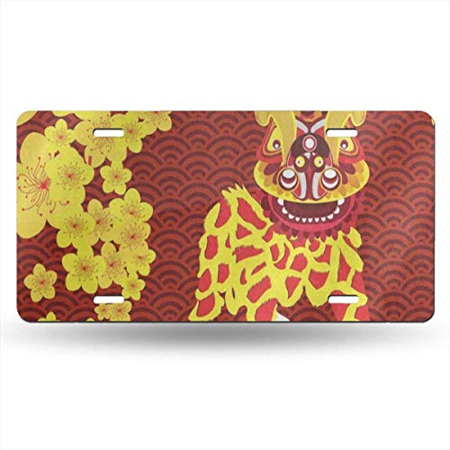 Plate Frame Chinese New Year Plum Blossom Lion Personalized Aluminum Metal Tag Holder Waterproof Decoration 12 x 6 Inch ()