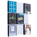Farbige Design CD-Wand / CD Wanddisplay / CD Wandhalter / CD Halter - CD-Wall Square 3x3 Farbe: weißaluminium für 9CDs zur sichtbaren Präsentation Ihrer Lieblings Cover an der Wand