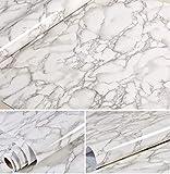 Grauer Marmor Look Kontaktpapier Glossy Folie Vinyl Selbstklebende Rückseite Granit Wandregal Peel & Stick Wandaufkleber zur Abdeckung Arbeitsplatte Küchenschrank (61x 200 cm)