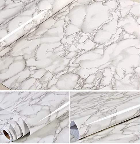 Revêtement autocollant gris marbre - Pour meubles, plans de travail et murs - 61x 200,7cm