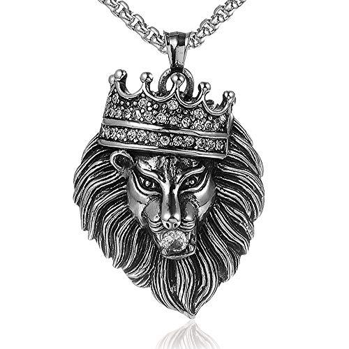 Edelstahl Männer Halsketten Kette Anhänger Löwe Royal Crown King Tier Punk Rock Hip Hop Für Männliche Junge Mode Schmuck Geschenk 60cm (Männer's Crown Royal Kostüm)