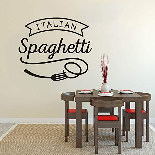 Wandaufkleber Spaghetti Vinyl Wand Fenster Aufkleber Restaurant Pasta Design Wand Poster Küche Lebensmittel Dekor 66 * 57 cm ()