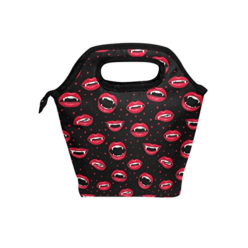 jstel Halloween rot vampir Lippen Lunch Bag Handtasche Lunchbox Frischhaltedose Gourmet Bento Coole Tote Cooler Warm Tasche für Reisen Picknick Schule Büro