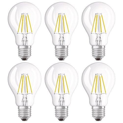 Osram LED SuperStar Classic A Lampe, in Kolbenform mit E27-Sockel, dimmbar, Ersetzt 40 Watt, Filamentstil Klar, Warmweiß - 2700 Kelvin, 6er-Pack -