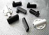 Pack 1–3Sets, doppelte Cabinet Glastür. Magnetverschluss/Pivot Scharnier/counterplates. Mit Befestigungsmaterial. Satin schwarz, 2x2 each pr Pivot Hinges/Counterplate/WHITE Catch
