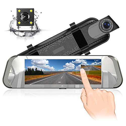 Spiegel Dash Cam 7 Zoll IPS Berührungsempfindlicher Bildschirm Volles HD 1080P mit 170°Weitwinkel Rückfahrkamera Doppellinse mit Parkplatz-Monitor G-Sensor Daueraufnahme