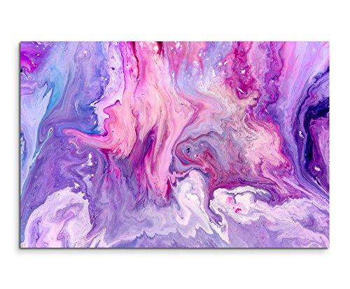 Sinus Art Wandbild 60x40cm Abstraktes Violettes Acrylgemälde auf Leinwand für Wohnzimmer, Büro, Schlafzimmer, Ferienwohnung u.v.m. Gestochen scharf in Top Qualität