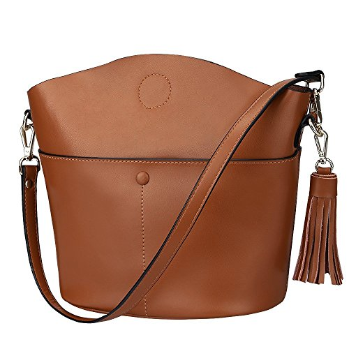 S-ZONE Sacchetto di spalla del Crossbody del sacchetto della borsa della borsa della borsa della pelle bovina delle donne di (viola) Brown