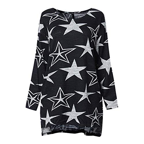 LANSKIRT _Pull femme sexy Sweat-Shirt Femme, Mode Automne Hiver Femmes T-Shirt Imprimé Etoile Manches Longues Chemise Style Décontracté