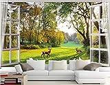 BHXINGMU Kundenspezifische Wandbilder Landschaft Vor Dem Fenster Große Fototapete Wohnzimmerdekoration 240Cm(H)×330Cm(W)
